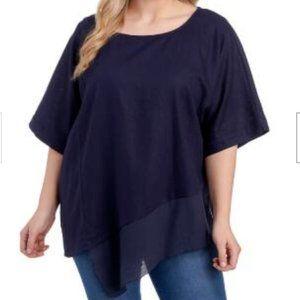 Melissa Paige Linen Blend Asymmetrical Navy Blouse
